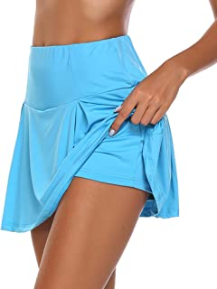 Chigant Women's Athletic Skorts Lightweight Pleated Active Skirts with Shorts Running Tennis Golf Workout Sports Blue