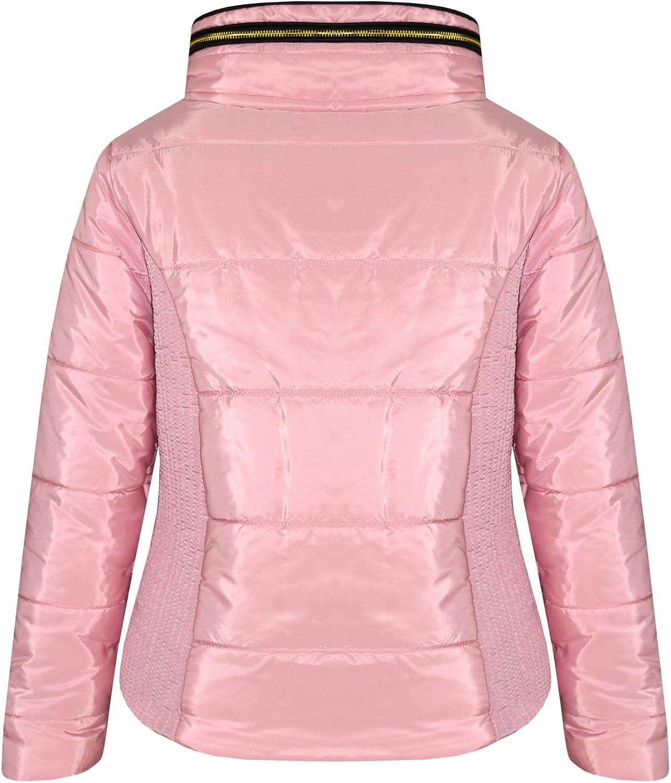 Kids Girls Jacket Baby Pink Fur High Neckline Puffer Bubble Padded Warm Coats