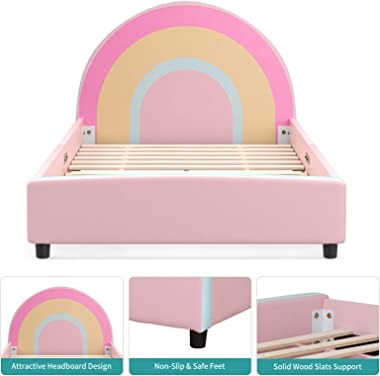 mecor Children Toddler Bed - Twin Size Faux Leather Upholstered Platform Bed Frame with Curved Headboard / Cute Rainbow Kids
