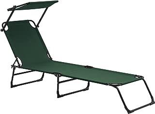 casa.pro Tumbona plegable 190cm verde oscuro con techo -