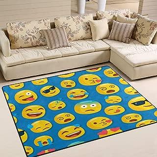 ALAZA Hipster Emoji Smiley Emoticon Face Area Rug Rugs for Living Room Bedroom 5'3