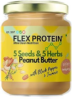 Flex Protein Premium Peanut Butter 100% Natural with no Added Salt, Sugar or Oils 500g (5 Seeds & 5 Herbs 500g)