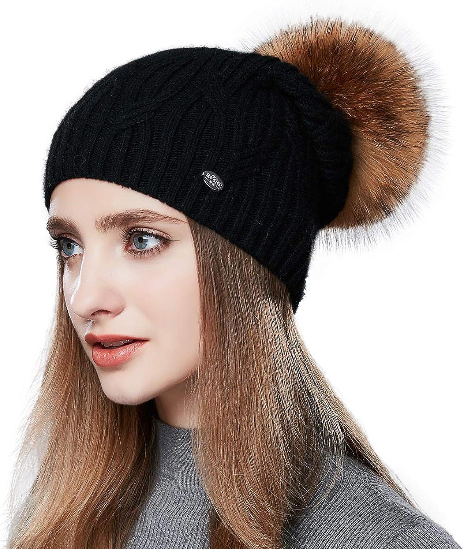 ENJOYFUR Winter Hats for Women pom pom Slouchy Beanie hat Real Fur Knit Hats ski Cap 10 colors