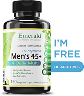 Men's 45+ 4-Daily Multi - Multivitamin with CoQ10, Saw Palmetto & Extra Lycopene - Supports Heart Health, Energy Boost, Immune System, Strong Bones - Emerald Laboratories - 120 Vegetable Capsules