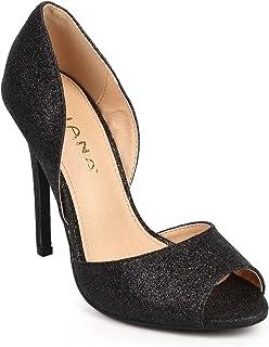 a86e723987663 Women Glitter Peep Toe Dorsay Single Sole Stiletto Pump DF63