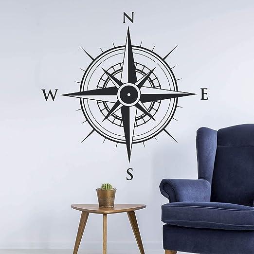 Kompass Windrose Aufkleber Wandtattoo Wandaufkleber Sticker 40 B X 40 H Cm Schwarz Küche Haushalt