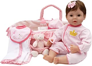 Reborn Baby Doll Handmade Lifelike Realistic Vinyl Girl Doll, 18 inch Weighted Soft Body Toy Gift Set