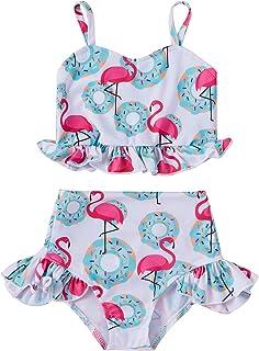 Toddler Baby Girls Two Piece Swimsuit Beach Bikini Ruffle Floral Flamingo Bathing Suit Surf Swimwear Set