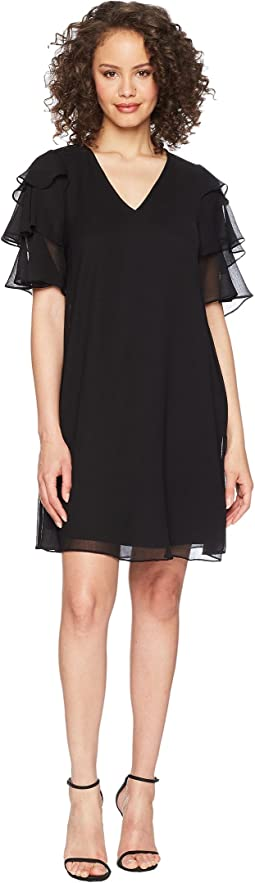 Calvin Klein V-Neck Dress with Tiered Ruffle Sleeve CD8H19LD