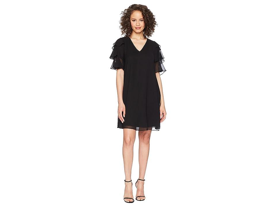 Calvin Klein V-Neck Dress with Tiered Ruffle Sleeve CD8H19LD (Black) Women