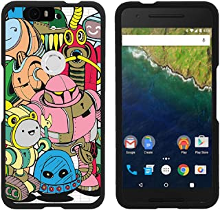 TurtleArmor   Compatible with Huawei Nexus 6P Case   Google Nexus 6P Case [Slim Duo] Hard Shell Snap On Case Fitted Compact Matte on Black Robot Android - Cartoon Robots