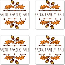 Ambesonne Family Coaster Set of 4, Hand-Sketched Typographic Element with Acorns and Family Faith Fall Words, Square Hardboard Gloss Coasters, Standard Size, Orange Brown Mustard