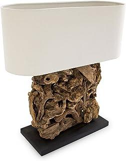 Relaxdays Lampe de table RUTH lampe de chevet de bureau Luminaire abat-jour en lin Pied racine de bois 60 x 55 x 20 cm, co...