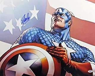 Stan Lee Captain America Signed 16x20 Photo #W80331 - PSA/DNA Certified