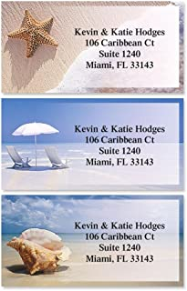 On The Shore Personalized Return Address Labels – Set of 144, Large, Self-Adhesive, Flat-Sheet Labels with Border (3 Designs), By Colorful Images
