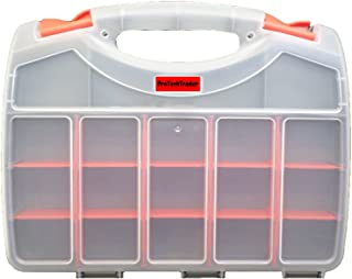 Deluxe Double Sided Storage Organizer Carrying Case with 36 Compartments - Used as a Tacklebox/Tool box/Craft Sorter. Holds Fasteners/Screws/Fishing/Tackle/Tools/Crafts/Beads/Electronics/Components