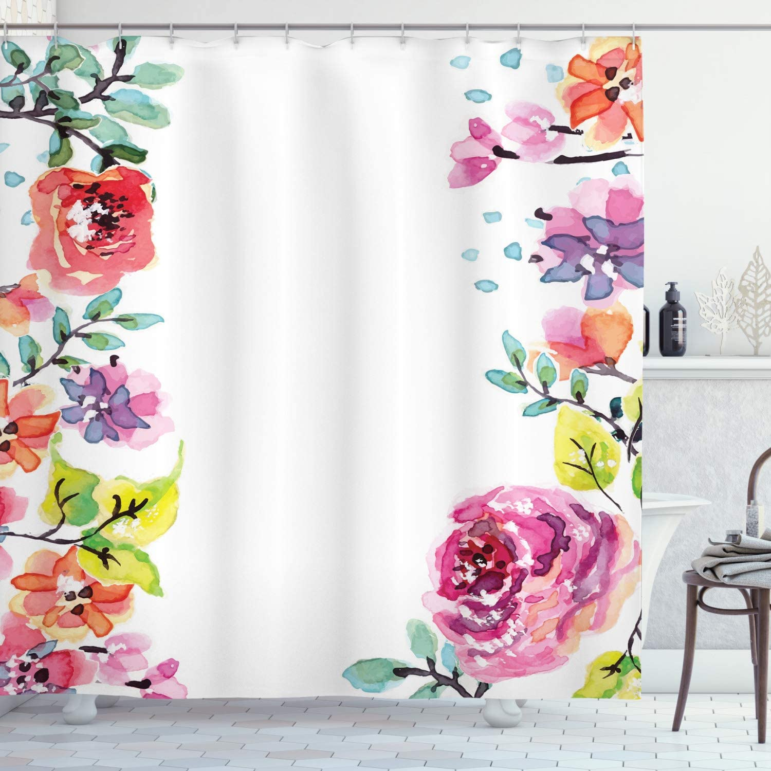 Ambesonne Watercolor Flower Shower with Curtain Framework Delic Max 74% OFF Tampa Mall