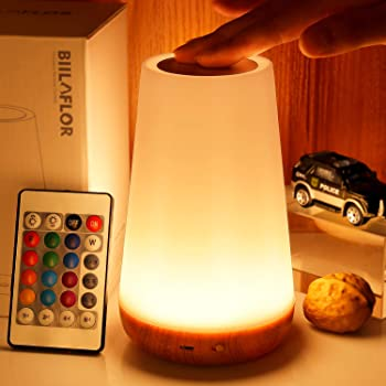 GKCI Touch Lamp, Portable Table Sensor Control Bedside Lamps with Quick USB Charging Port, 5 Level Dimmable Warm White Light & 13 Color Changing RGB for Bedroom/Office/Hallways