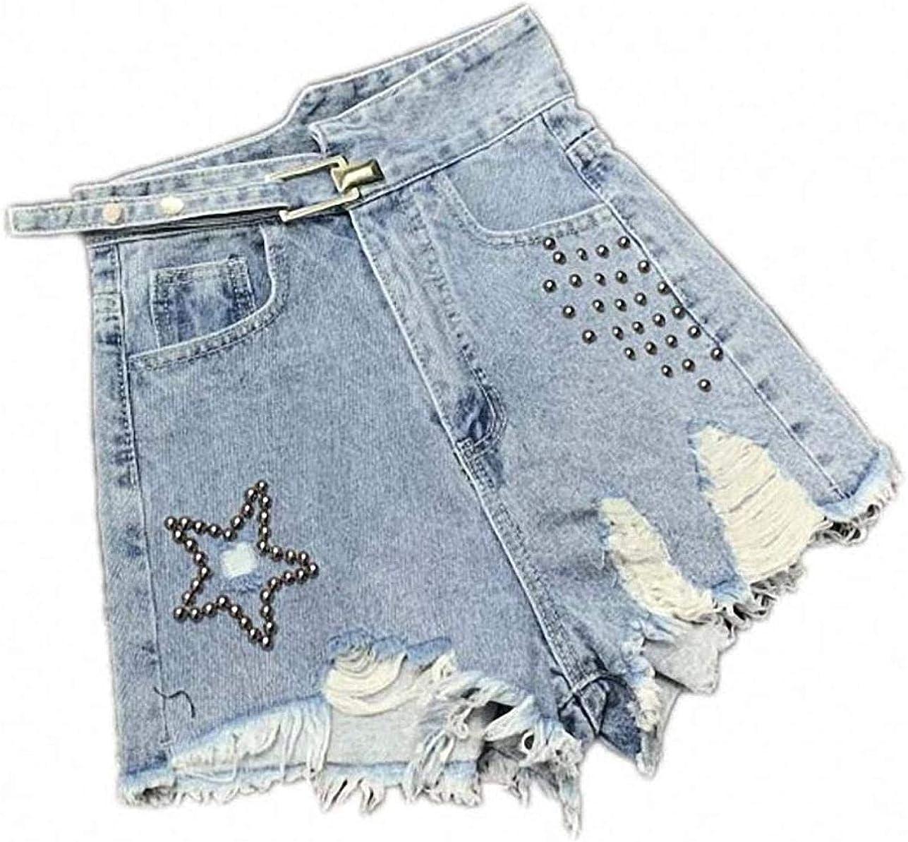 Rsqsjgkert Heavy Industry Beaded Hole Denim Shorts Women Black Wide Leg Metal Buckle Irregular High Waist Jeans Shorts