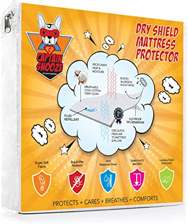 CAPTAIN SNOOZE Premium 100% Waterproof, Vinyl Free Mattress Protector, Full Size Fitted with a Cotton Terry Cover, Upto 18 inches deep Pocket