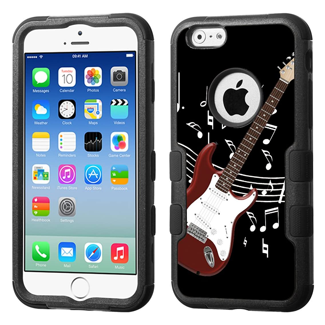One Tough Shield 3-Layer Hybrid Shock Absorbent Case (Black/Black) for Apple iPhone 6/6s - (Electric Guitar/Red)