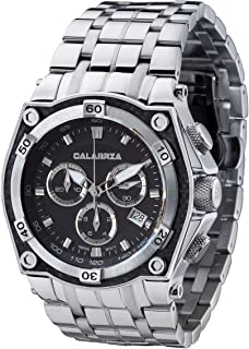 CALABRIA - Capitano - Classic Black Chronograph Mens Watch with Carbon Fiber Bezel and SS Band