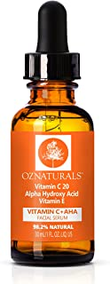 Vitamin C + AHA Serum - 2-in 1 Supercharged Serum Delivers Vitamin C & Plant Based AHA Glycolic Acid - Anti Aging, Toner & Collagen Supporting - Remove Wrinkles, Fine Lines For Soft and Smooth Skin
