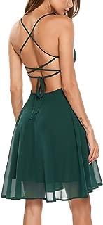 Zeagoo Women Sexy Backless Spaghetti Strap Party Beach Chiffon Short Mini Casual Dress with Lining