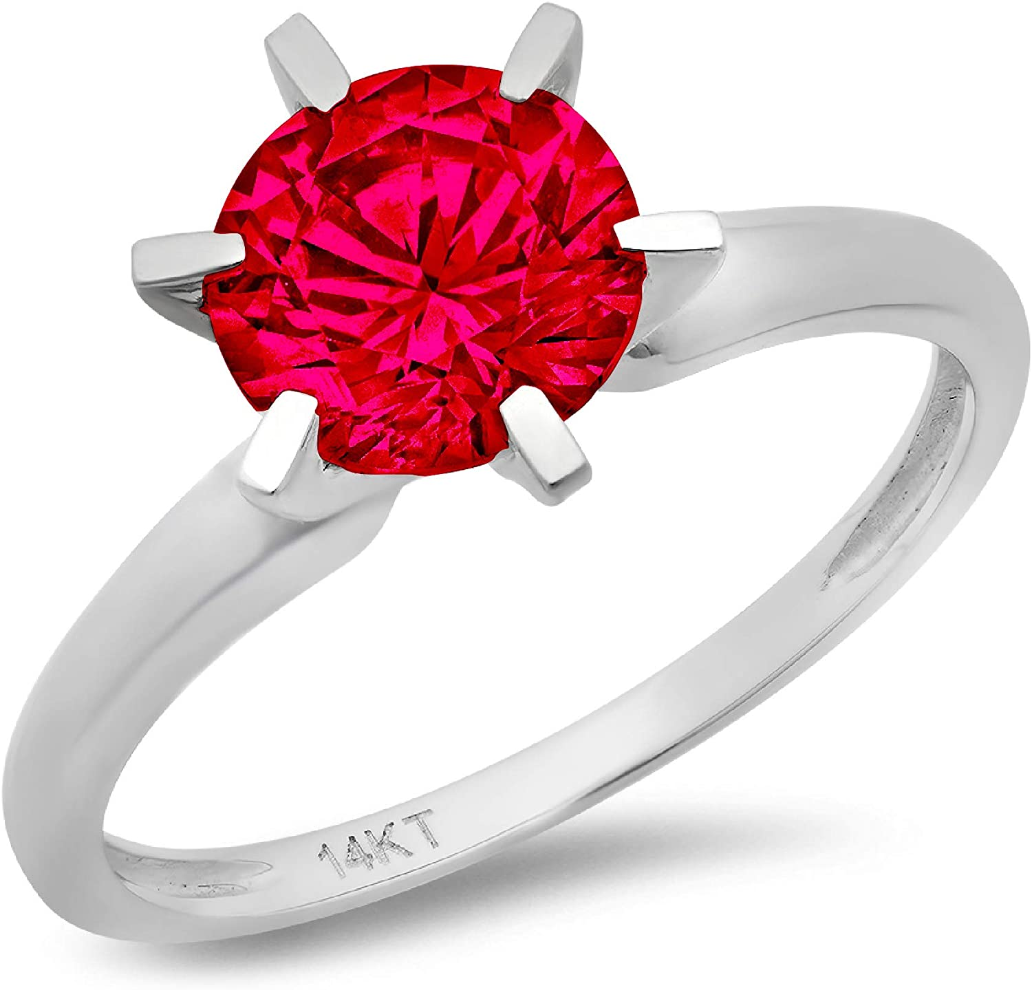 0.4ct Brilliant Round Cut Solitaire Flawless Simulated Cubic Zirconia Red Ruby Ideal VVS1 6-Prong Engagement Wedding Bridal Promise Anniversary Designer Ring in Solid 14k white Gold for Women