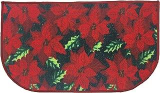Kashi Home Christmas Slice Kitchen Rug, Red Poinsettia 18