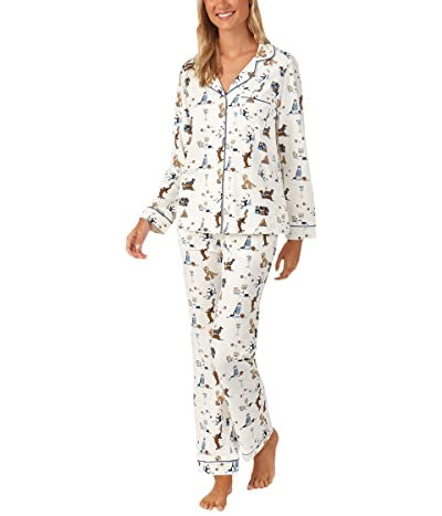 BedHead Pajamas Long Sleeve Classic Notch Collar Pajama Set (Cotton Spandex) (Mazel Dogs) Women
