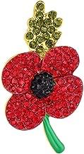 TOOGOO Poppy Brooch Symbolic Crystal Diamante Remembrance Day Poppy Pin Badge (3#)