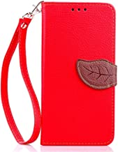 Daminfe HTC Desire 610 Wallet Cover, HTC Desire 612 Flip Case, Colorful Pattern Floral Leaf Style PU Leather Flip Wallet Stand Case Cover for HTC Desire 610/612(red)