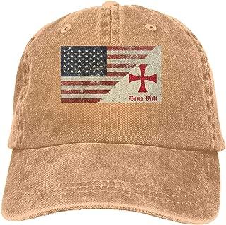 Deus Vult Knights Templar Cross Denim Hats Adjustable Baseball Cap Dad Hats