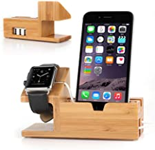 ETCBUYS Wood Charging Station - Fashion Creative Durable Design 3 USB Ports Multiple Devices Organizer Stand for Smartphones Tablets Watch - Eco-Friendly Office Desktop Cable Management Wooden Docking