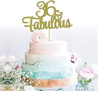 GrantParty Glitter Gold 36&Fabulous Anniversary Cake Topper We Still Do 36th Vow Renewal Wedding Anniversary Cake Topper(36 Gold)
