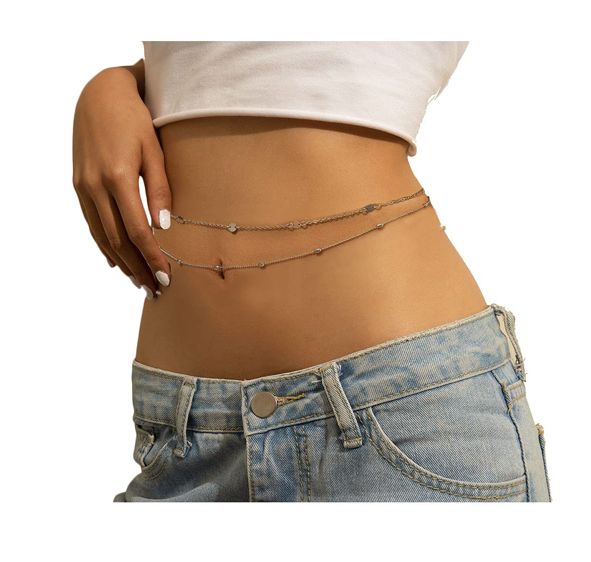 2pcs Women Sexy Belly Waist Chain Beads Sequin Body Chain Summer Bikini Body Jewelry(Golden)