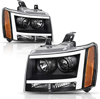 AUTOSAVER88 Headlight Assembly LED DRL Projector Compatible with 2007-2013 Chevy Avalanche Pickup Truck 07-14 Chevy Suburban/Tahoe Replacement for Chevrolet SUV Pickup Truck 20760578 20760579