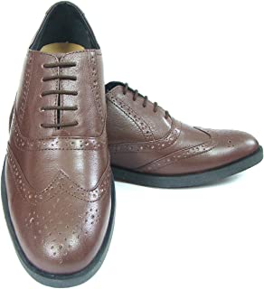ASM Pure Leather Formal Tan Brogue Shoes with Leather Upper, Leather Insole, Fully Leather Lining, TPR Sole and Memory Foam Cushioning for Boys/Mens by Article 101C, 5 to 15