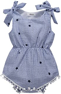c4af101e27cf Weixinbuy Infant Baby Girl Bowknot Tassel Stripe Romper Clothes Bodysuit  Outfits