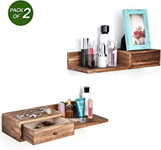 Emfogo Floating Shelves with Drawer Rustic Solid Wood Wall Storage Shelf for Organization and Display Multiuse as a Nightstand or Bedside Shelf Set of 2 Carbonized Black
