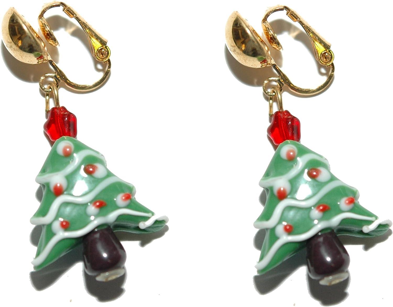 Selling rankings Ceramic Bombing new work Christmas Tree Clip Dangle On H163clip Earrings