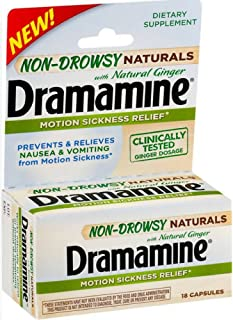 Dramamine Non-Drowsy Naturals Motion Sickness Relief | 18 Count