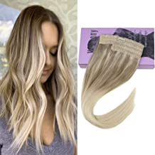 VeSunny 14inch Remy Halo Extensions Blonde Balayage Human Hair #Nordic Invisible One Piece Halo Couture Hair Extensions Thick Hair 80G/Set