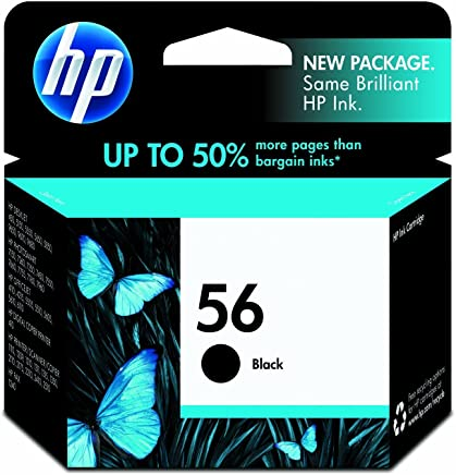 HP 56 Black Ink Cartridge (C6656AN) for HP Deskjet 450 5550 5650 5850 9650 9680 HP Officejet 4215 5610 6110 HP Photosmart 7260 7350 7450 7550 7755 7760 7762 7960 HP PSC 1210 1315 1350 2110 2175 2210 photo