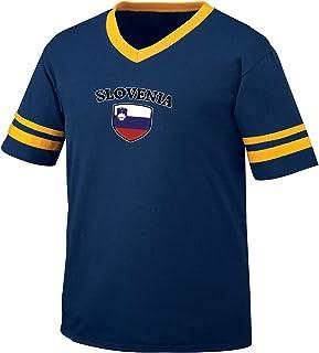Slovenia Flag and Shield Men's Retro Soccer Ringer T-shirt, Amdesco