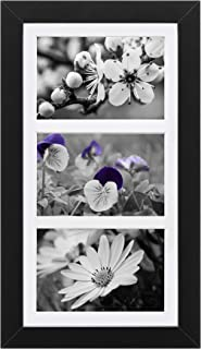 Picture Frame Collage to Display 4x6 Photos - 3 Opening Matted Wood Collage Frame, Ready to Hang, Wall Picture Frame for Home Office Decor, Black