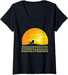 Womens BAAA SOWENYA MAMABEATSEBABAH Song African King Lion V-Neck T-Shirt
