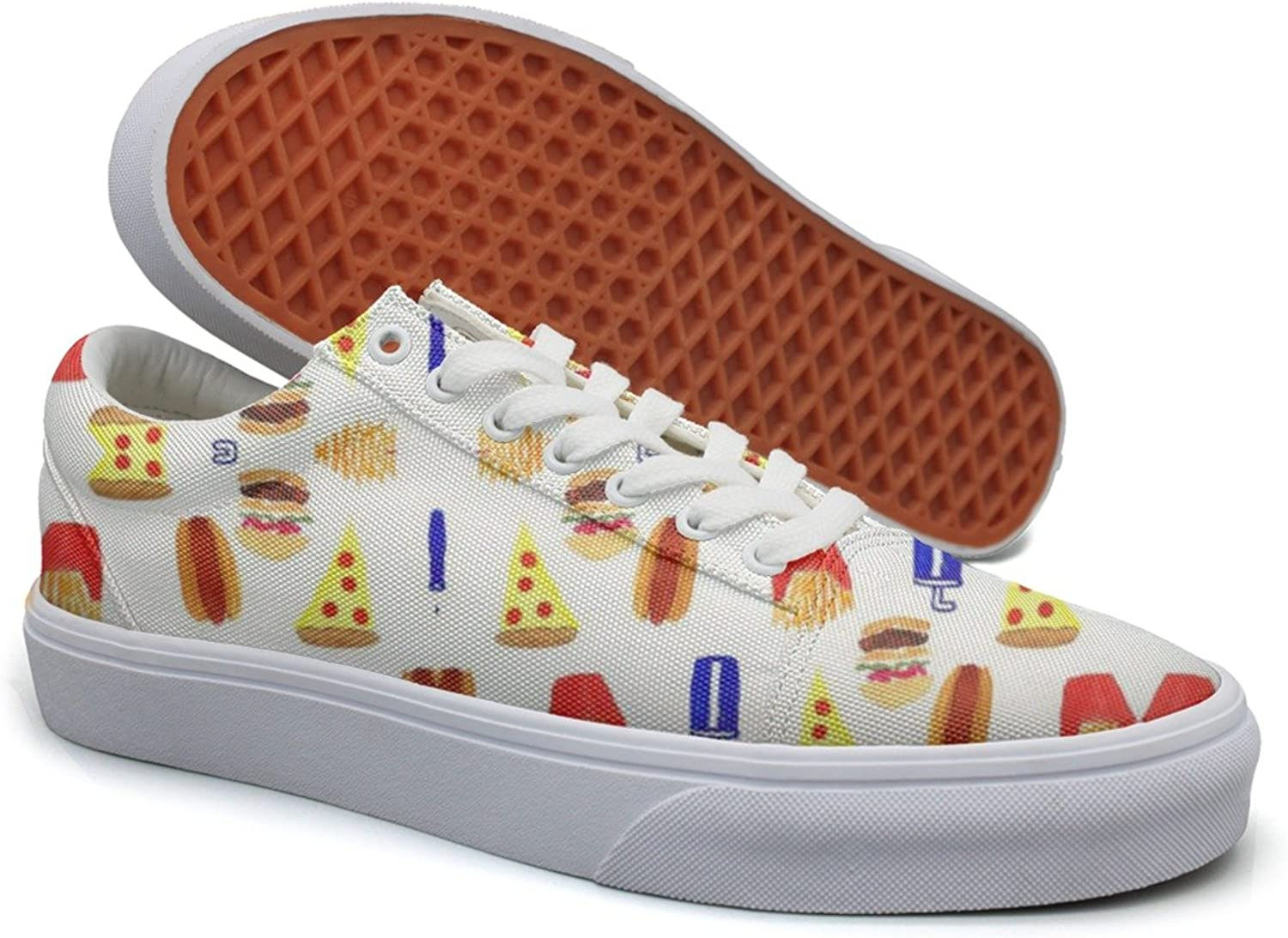 Ouxioaz Womens Canvas Casual shoes Junk Food Hot Dog Pizza Hamburger Lace-up Running shoes