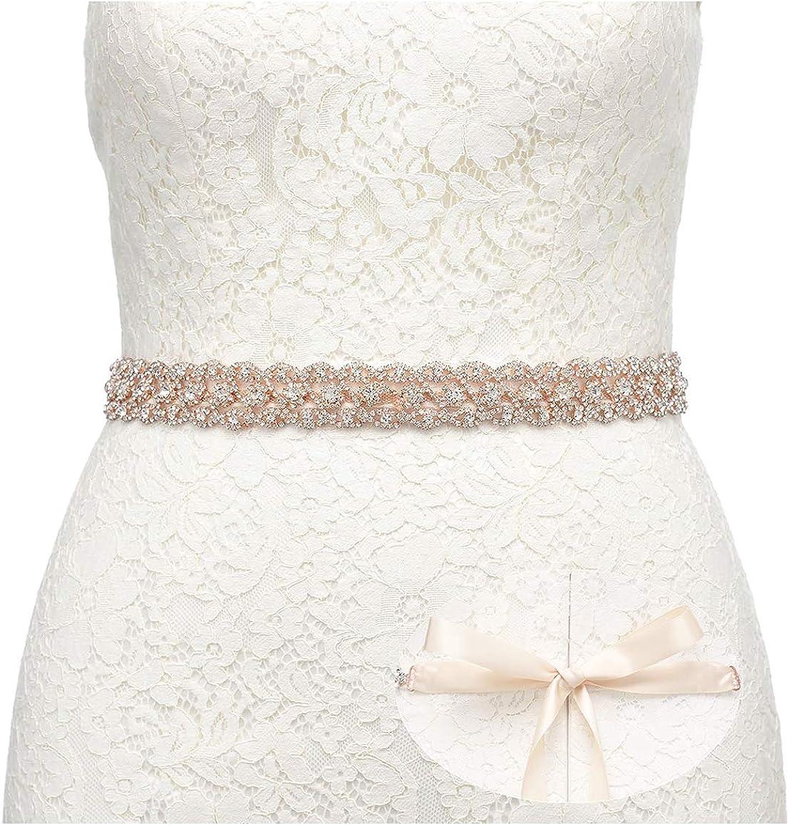 SWEETV Boda Vestido Faja Cintura Cinturón Cinta de Raso de Brillantes Diamantes de Imitación de Novia para Mujer